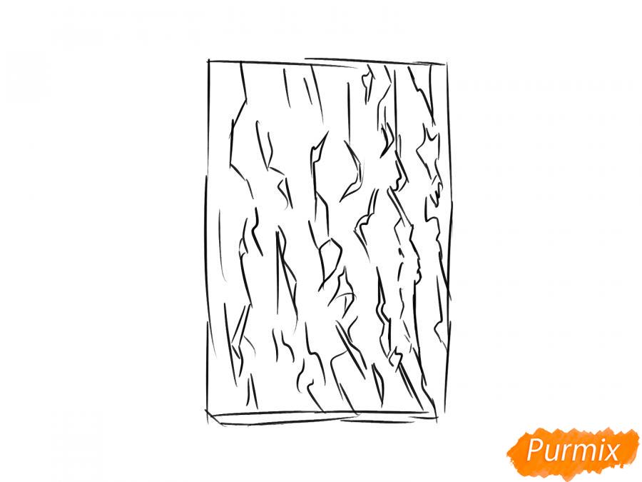 Рисуем кору абрикосового дерева - шаг 3