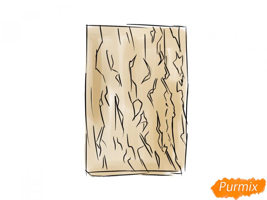 Рисуем кору абрикосового дерева - шаг 4