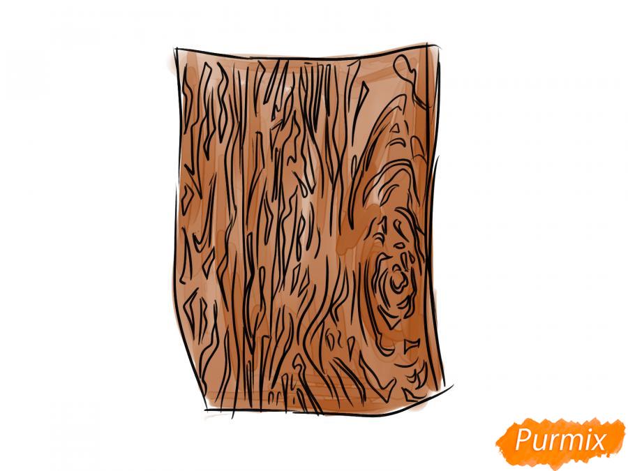 Рисуем кору дуба - шаг 6