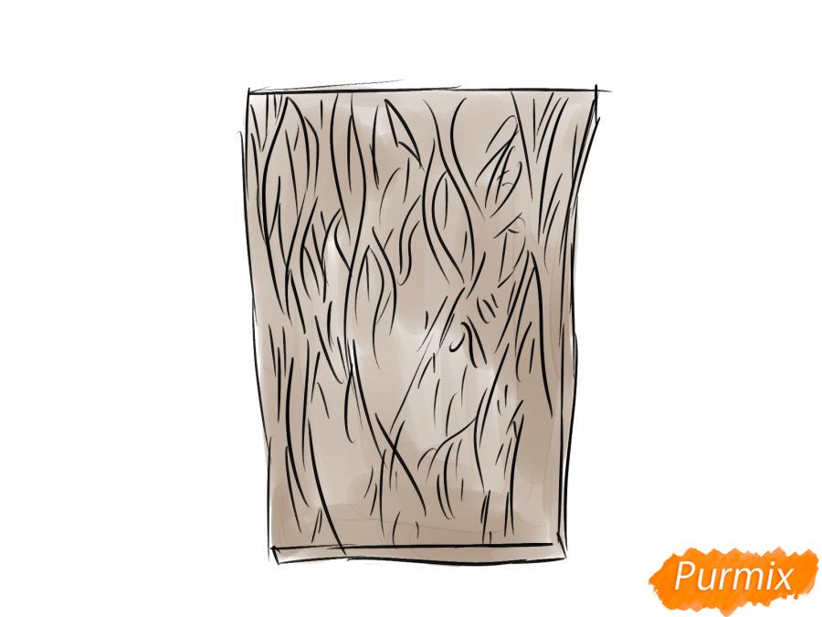 Рисуем кору ореха - шаг 4