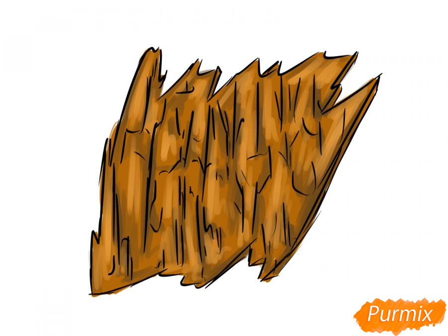 Рисуем кору тополя - шаг 6