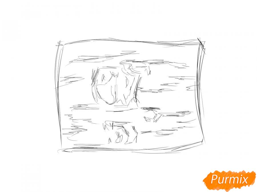 Рисуем кору вишневого дерева - шаг 2