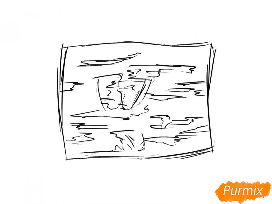Рисуем кору вишневого дерева - шаг 3