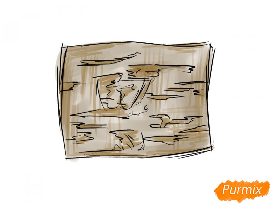 Рисуем кору вишневого дерева - шаг 4