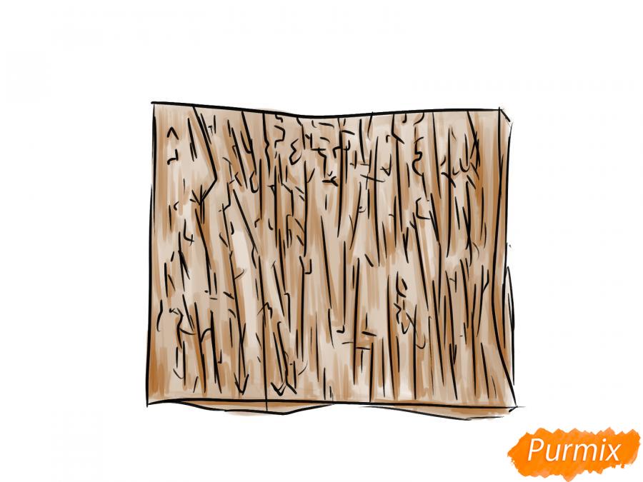 Рисуем кору яблони - шаг 7