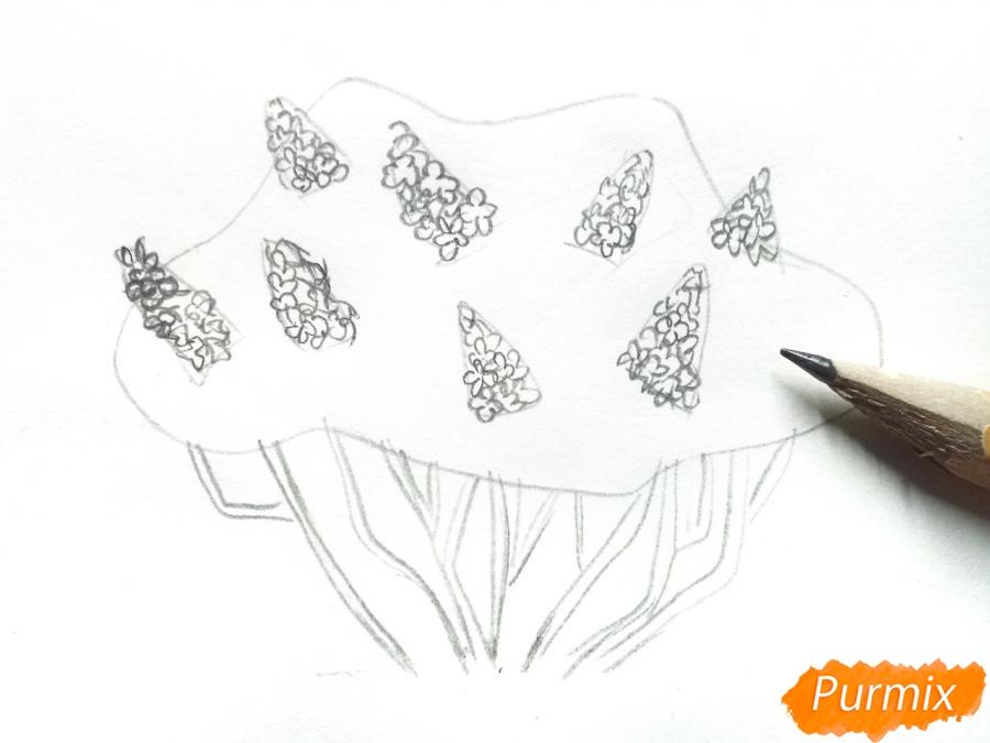 Рисуем куст сирени - шаг 3
