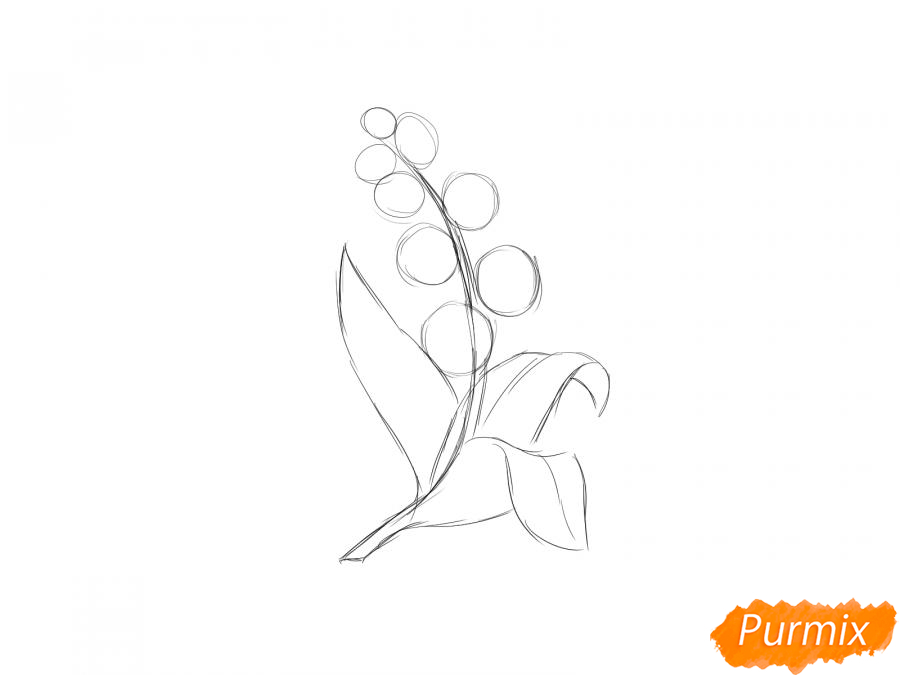 Рисуем ландыш  и красками - шаг 3