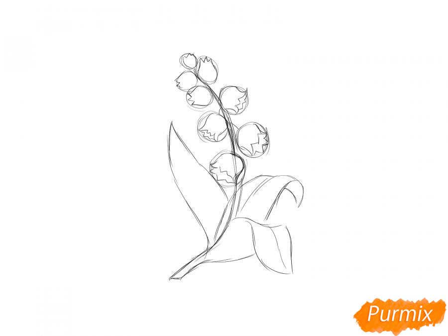 Рисуем ландыш  и красками - шаг 4