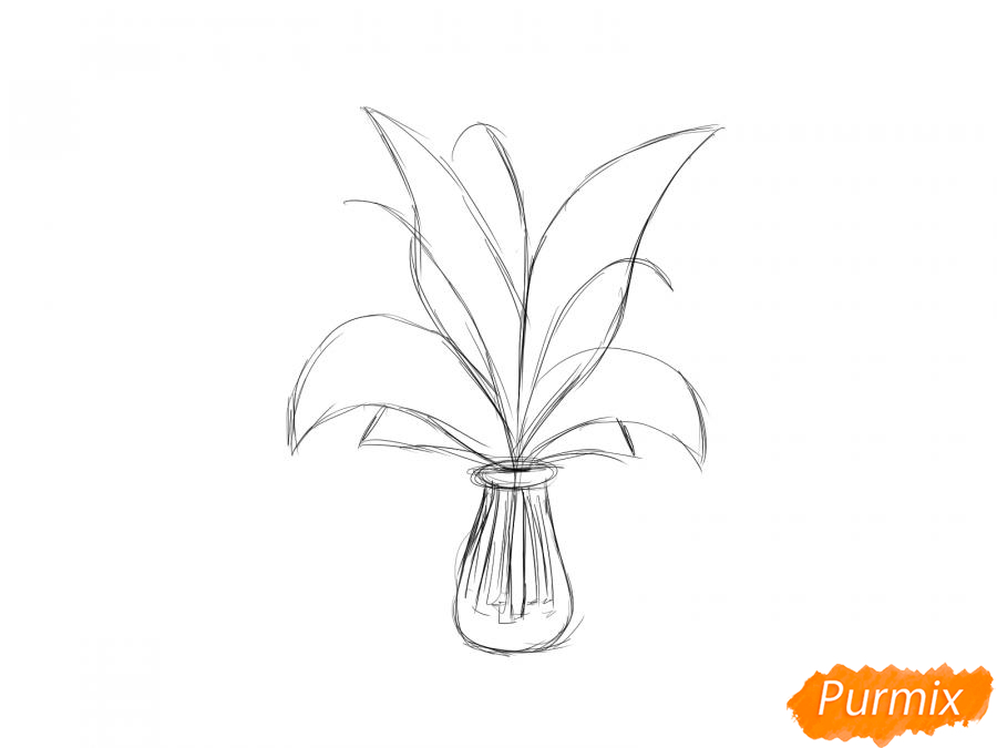 Рисуем ландыши в вазе - шаг 3