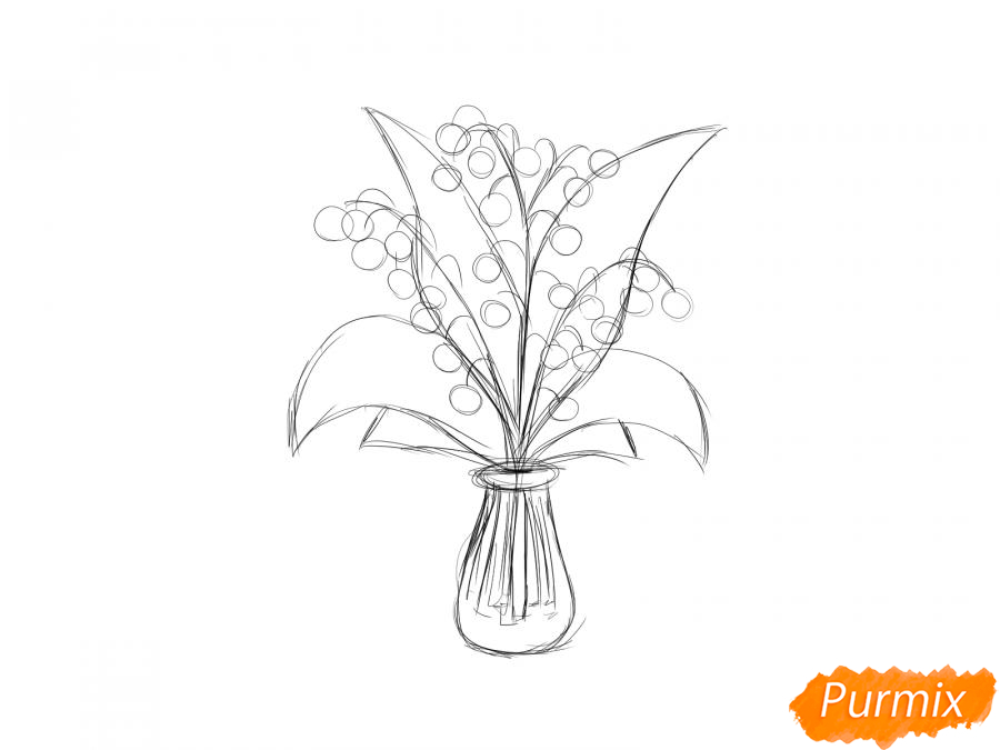 Рисуем ландыши в вазе - шаг 4
