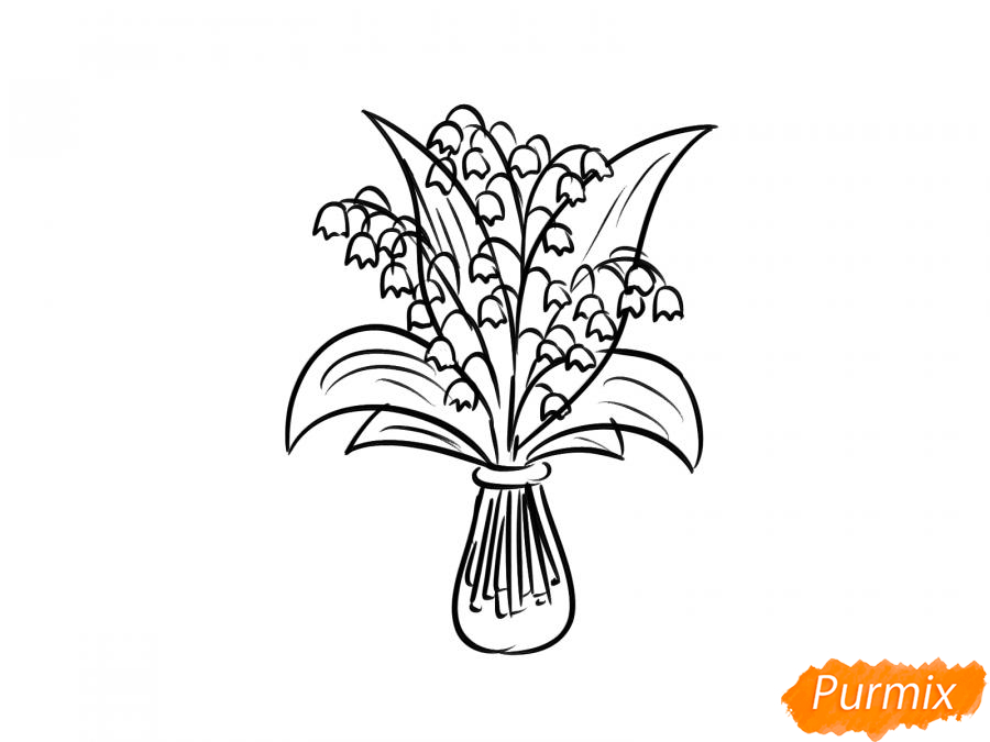 Рисуем ландыши в вазе - шаг 5