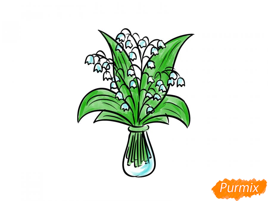 Рисуем ландыши в вазе - шаг 7