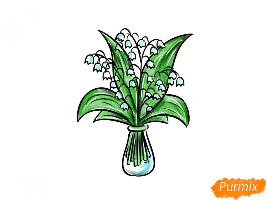 Рисуем ландыши в вазе - шаг 8