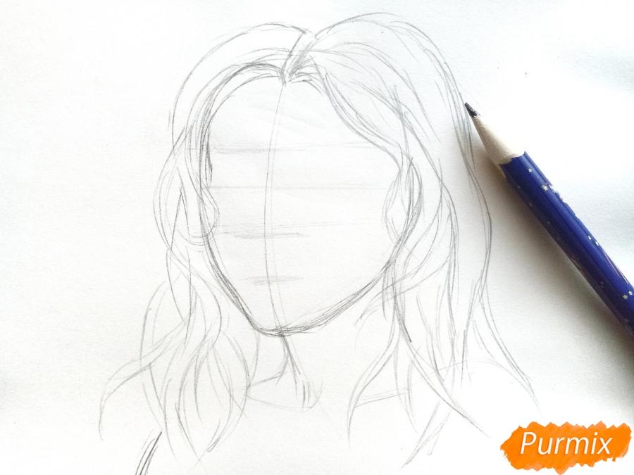Рисуем лицо девушки зимы - шаг 3