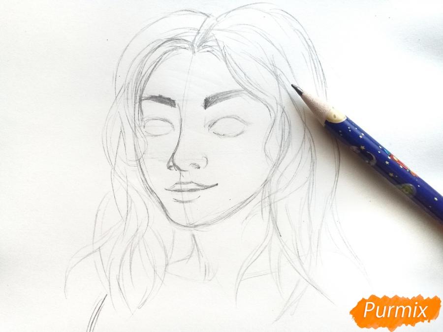Рисуем лицо девушки зимы - шаг 4