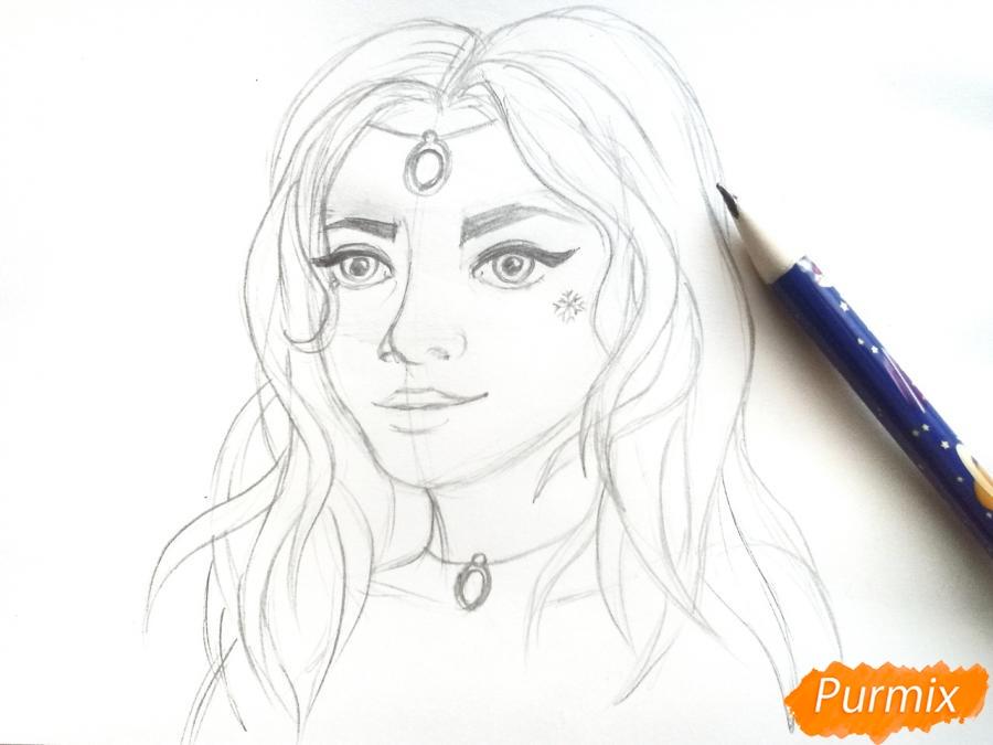 Рисуем лицо девушки зимы - шаг 5