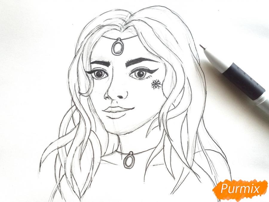 Рисуем лицо девушки зимы - шаг 6