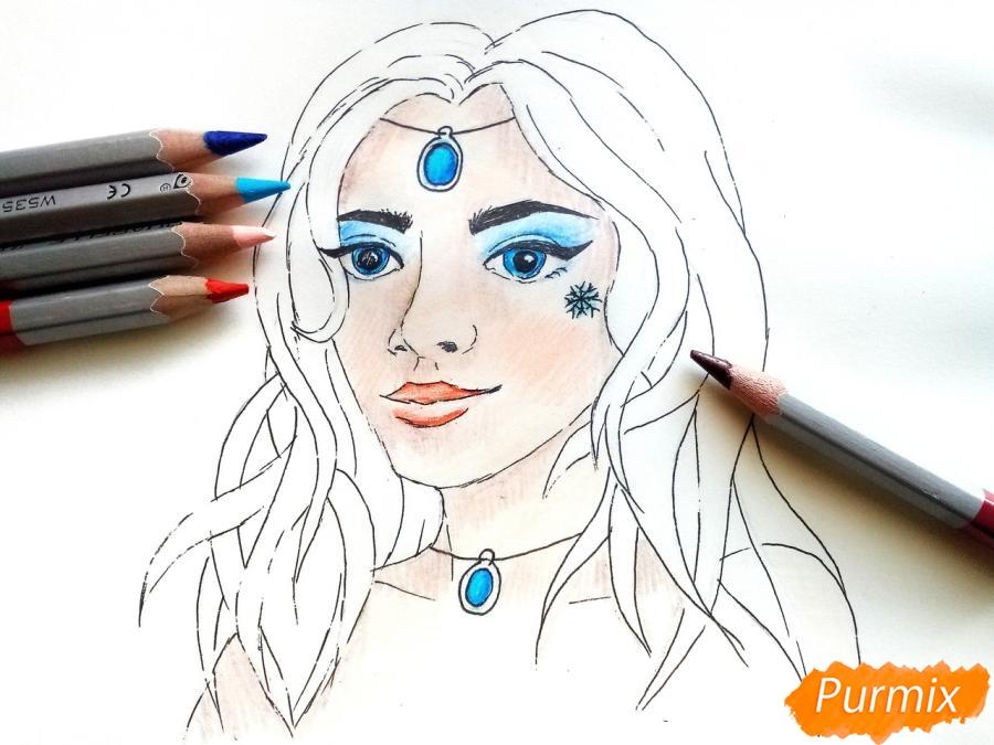 Рисуем лицо девушки зимы - шаг 7