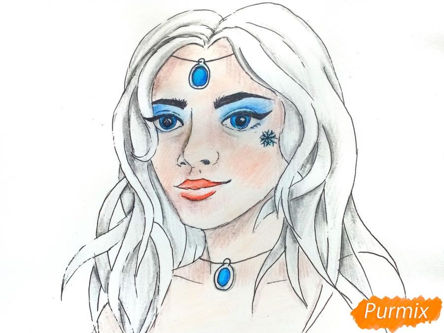 Рисуем лицо девушки зимы - шаг 9