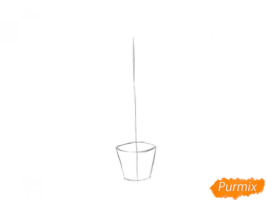 Рисуем лимонное дерево в горшке - шаг 2