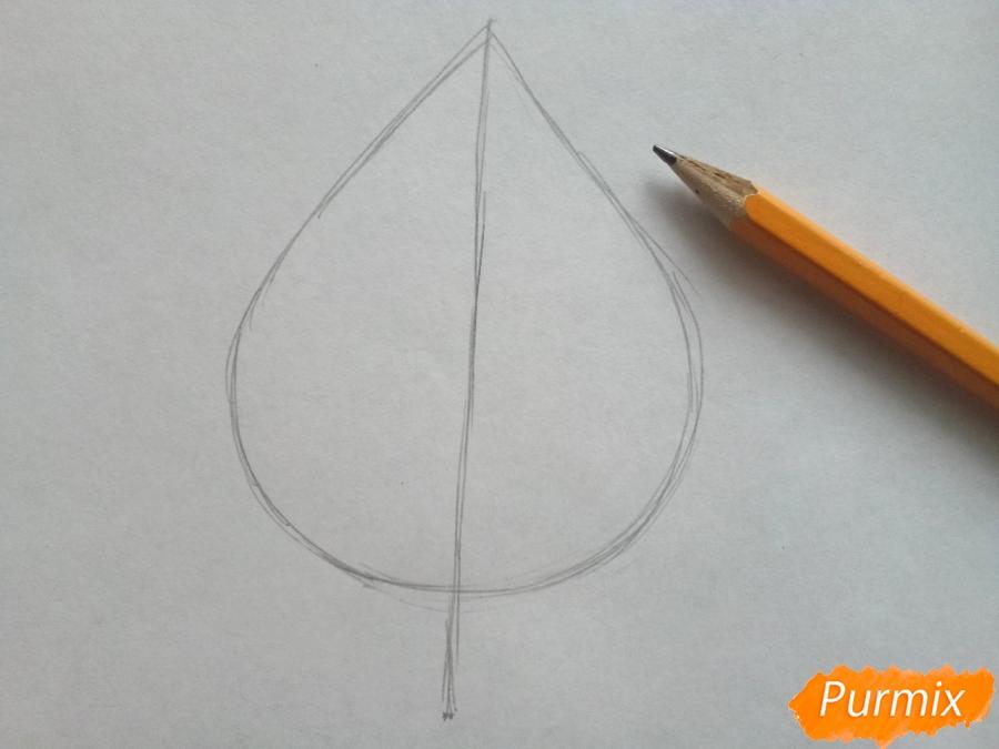 Рисуем лист березы карандашами - шаг 1