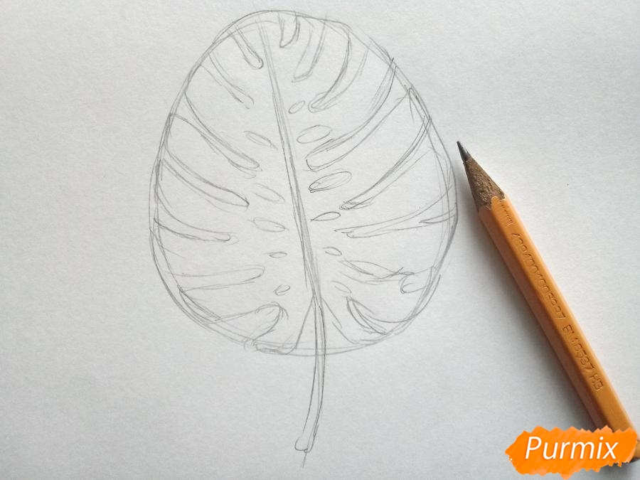 Рисуем лист пальмы карандашами - шаг 2