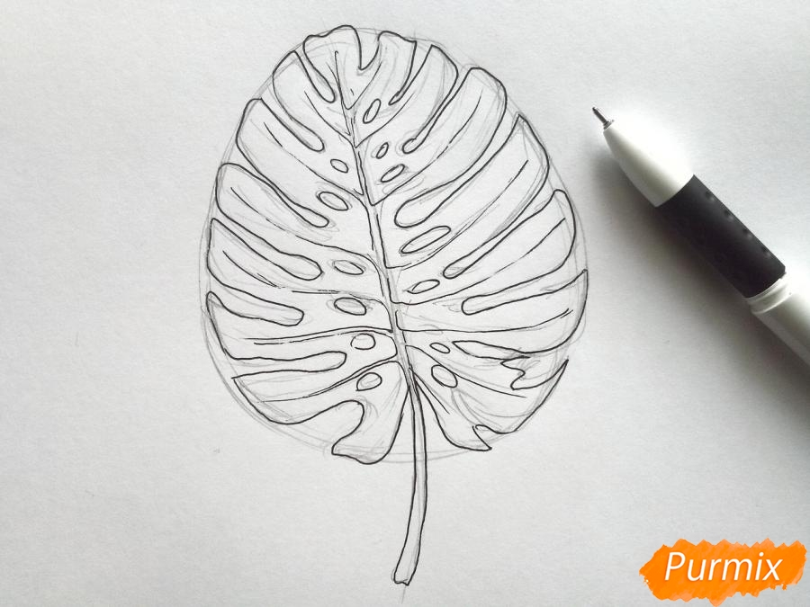 Рисуем лист пальмы карандашами - шаг 3
