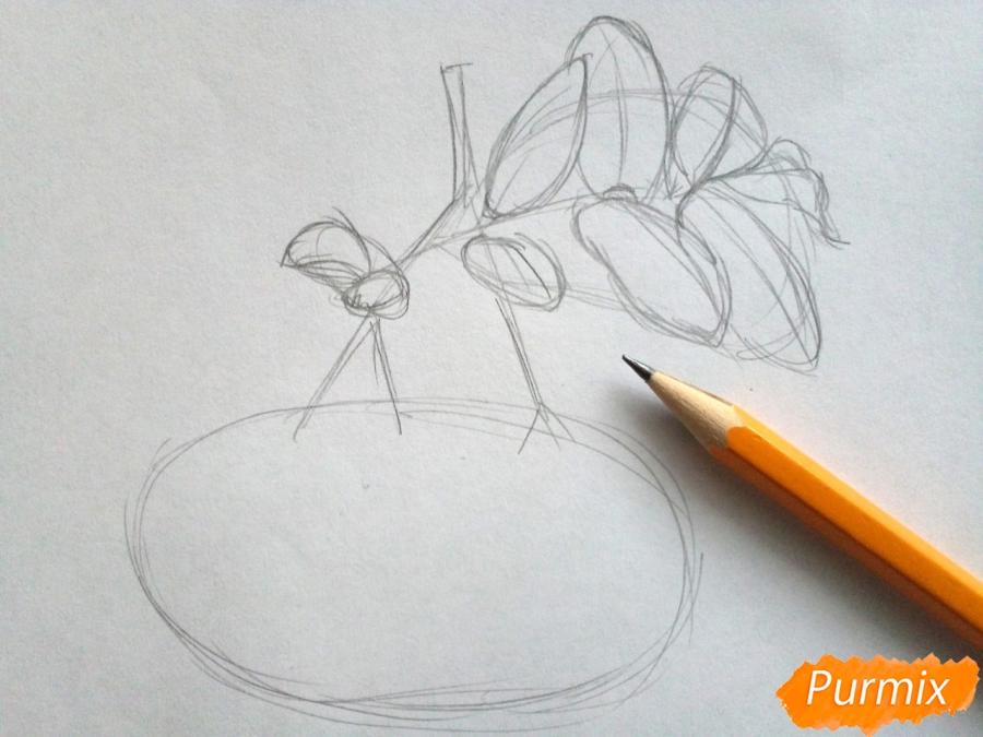Рисуем лист рябины с ягодами - шаг 2