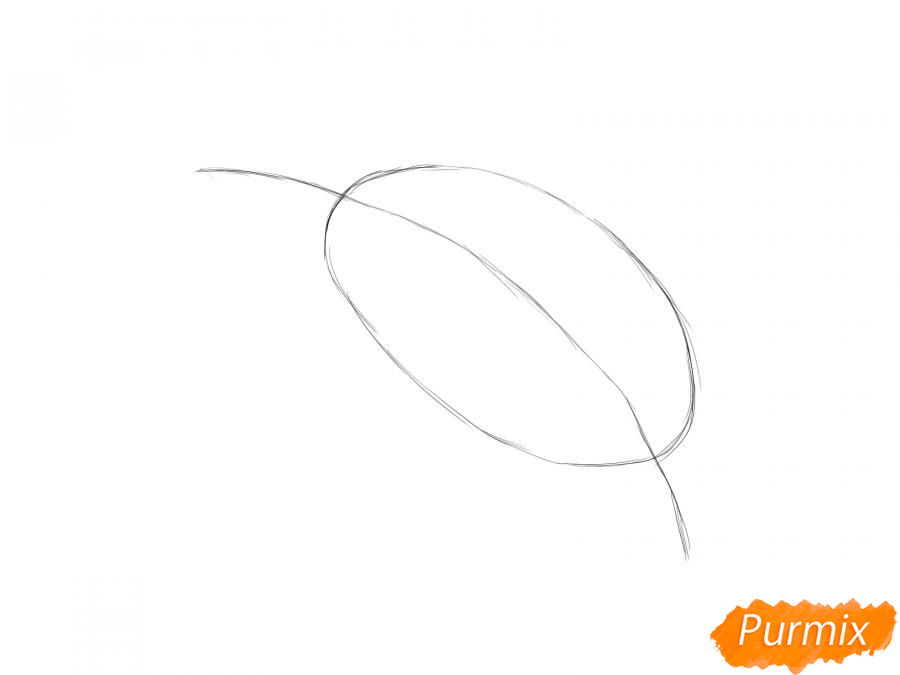 Рисуем лист сливы - шаг 2