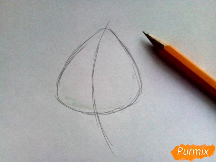 Рисуем лист тополя карандашами - шаг 1