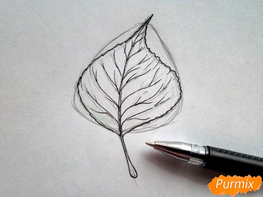 Рисуем лист тополя карандашами - шаг 4
