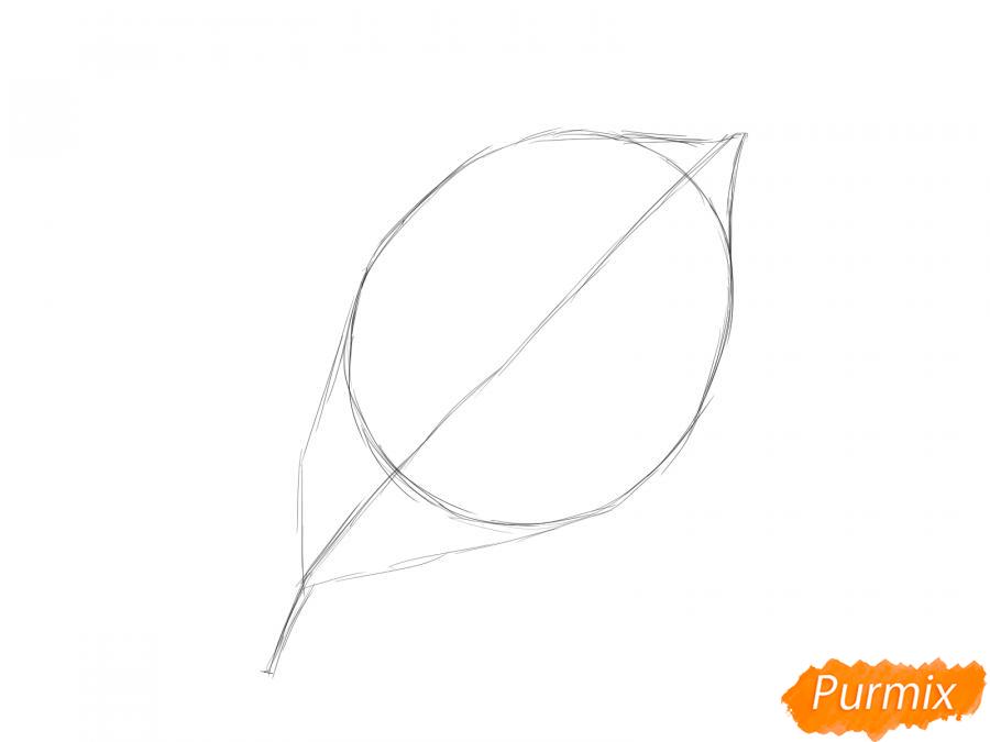 Рисуем лист вишни карандашами - шаг 2