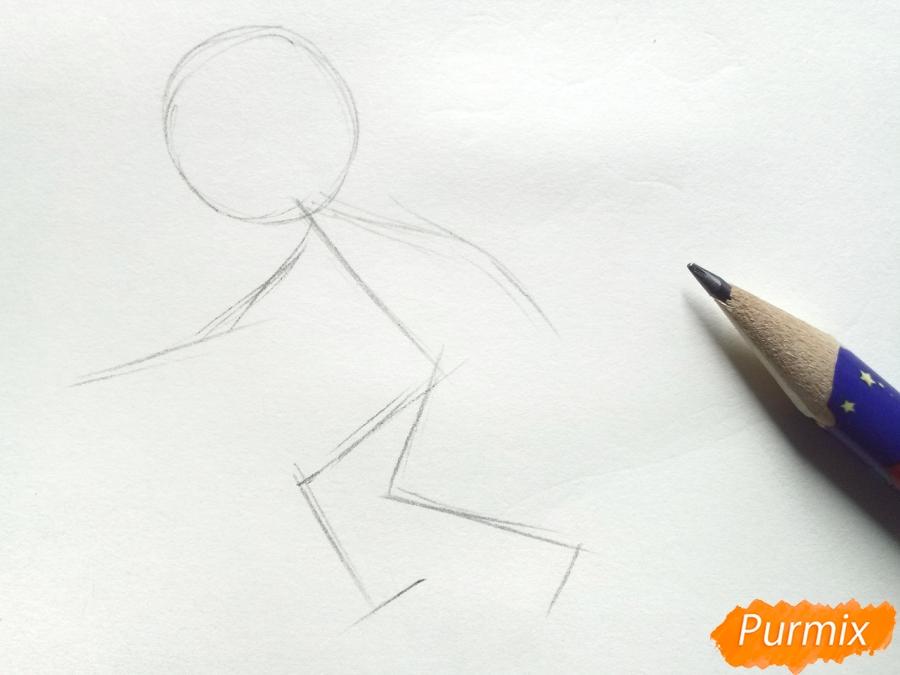Рисуем мальчика с санками зимой карандашами - шаг 1