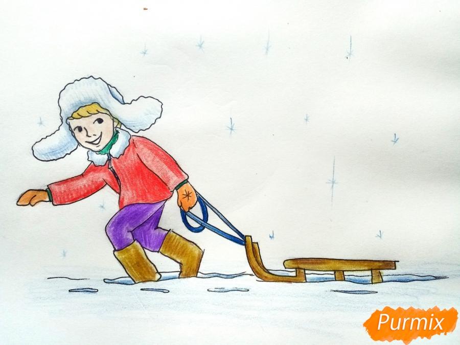 Рисуем мальчика с санками зимой карандашами - шаг 11