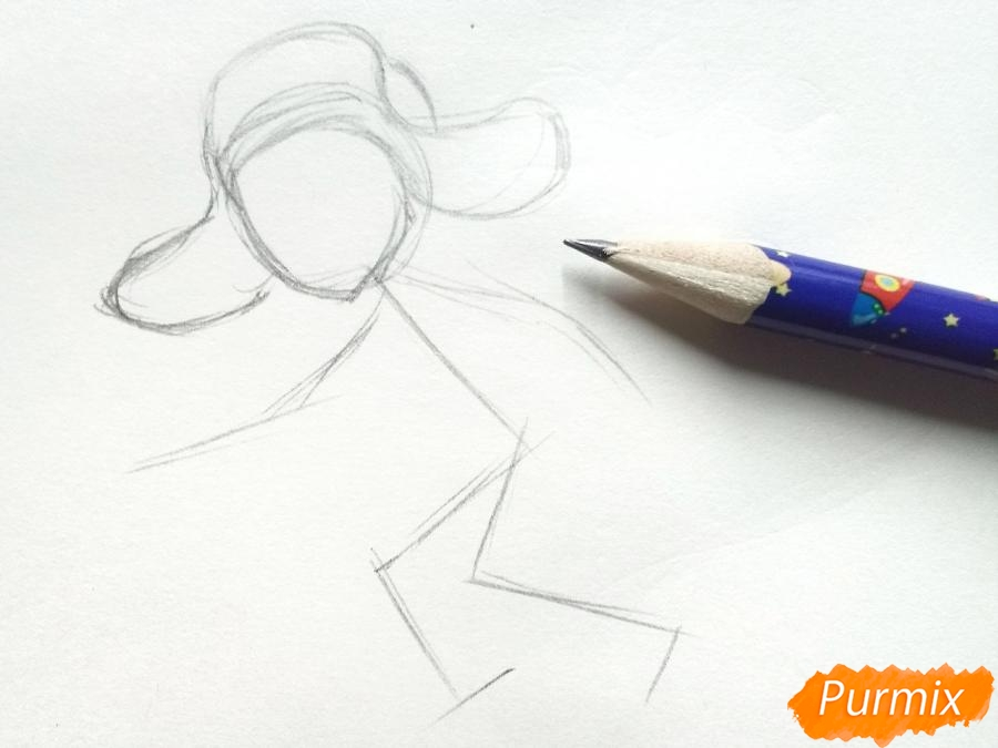 Рисуем мальчика с санками зимой карандашами - шаг 2