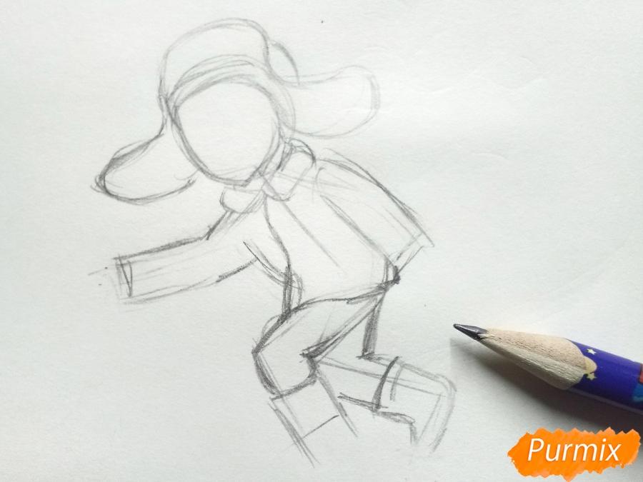 Рисуем мальчика с санками зимой карандашами - шаг 3