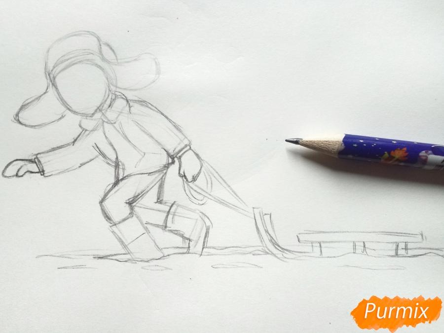 Рисуем мальчика с санками зимой карандашами - шаг 5