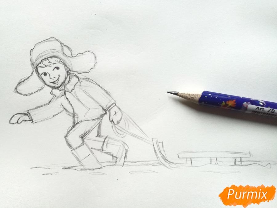 Рисуем мальчика с санками зимой карандашами - шаг 6