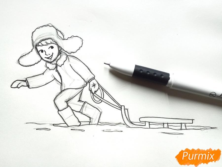 Рисуем мальчика с санками зимой карандашами - шаг 7