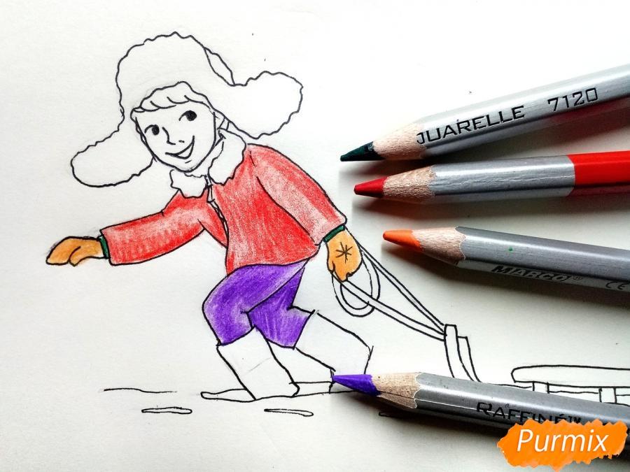 Рисуем мальчика с санками зимой карандашами - шаг 8