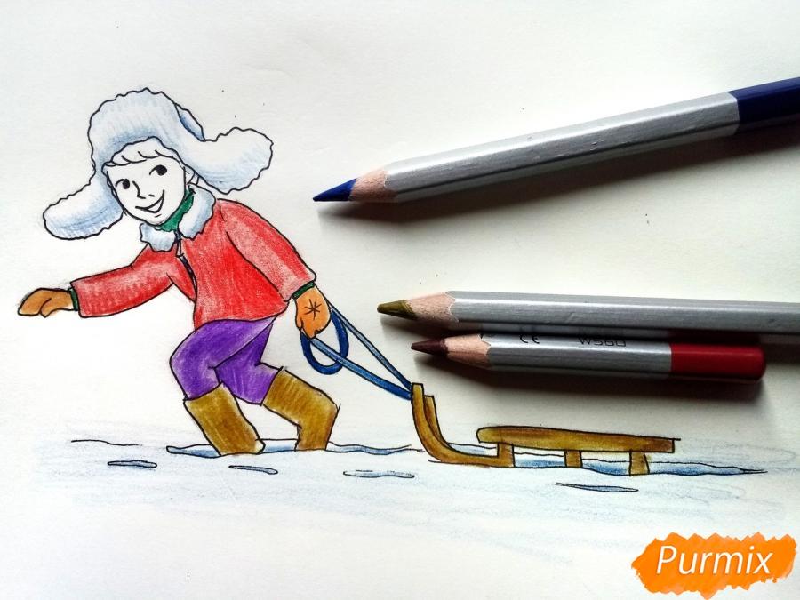 Рисуем мальчика с санками зимой карандашами - шаг 9