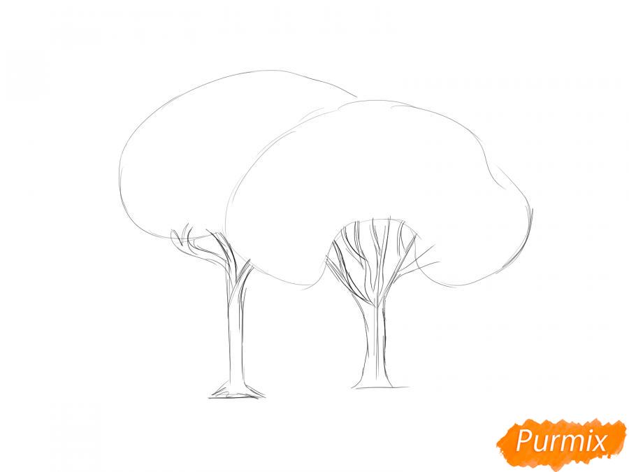 Рисуем несколько горящих деревьев - шаг 2