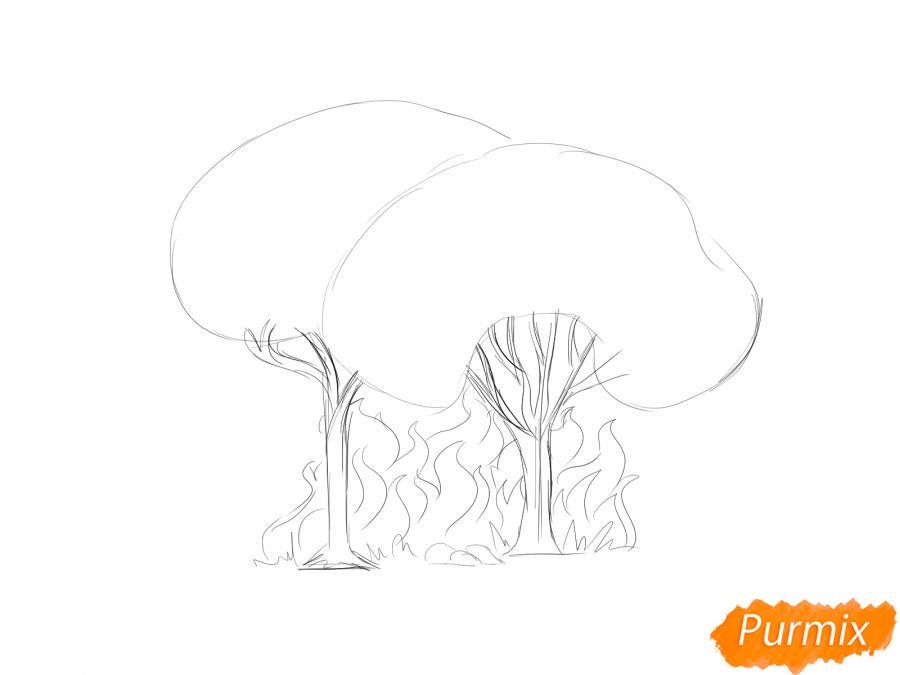 Рисуем несколько горящих деревьев - шаг 3