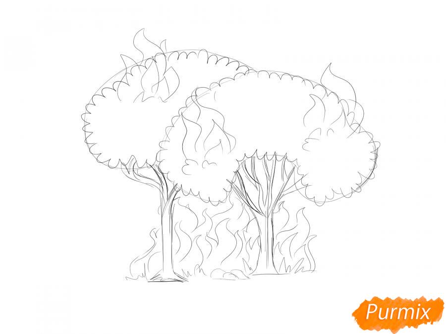 Рисуем несколько горящих деревьев - шаг 4