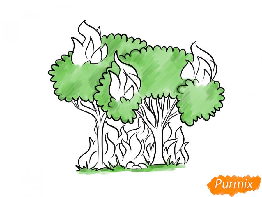 Рисуем несколько горящих деревьев - шаг 6