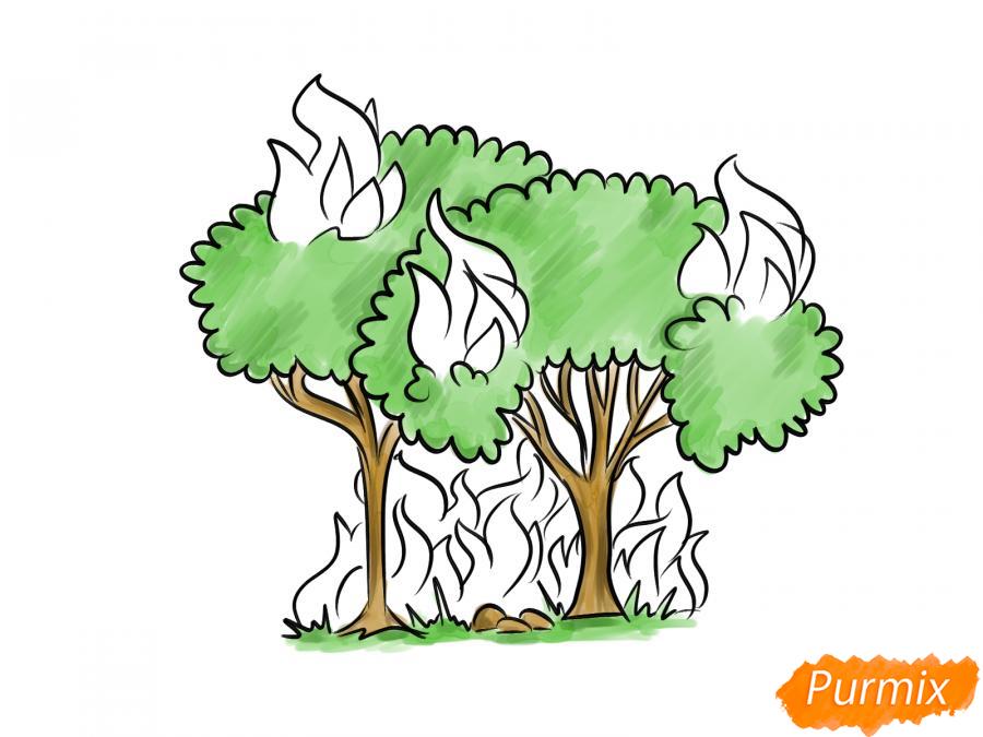 Рисуем несколько горящих деревьев - шаг 7