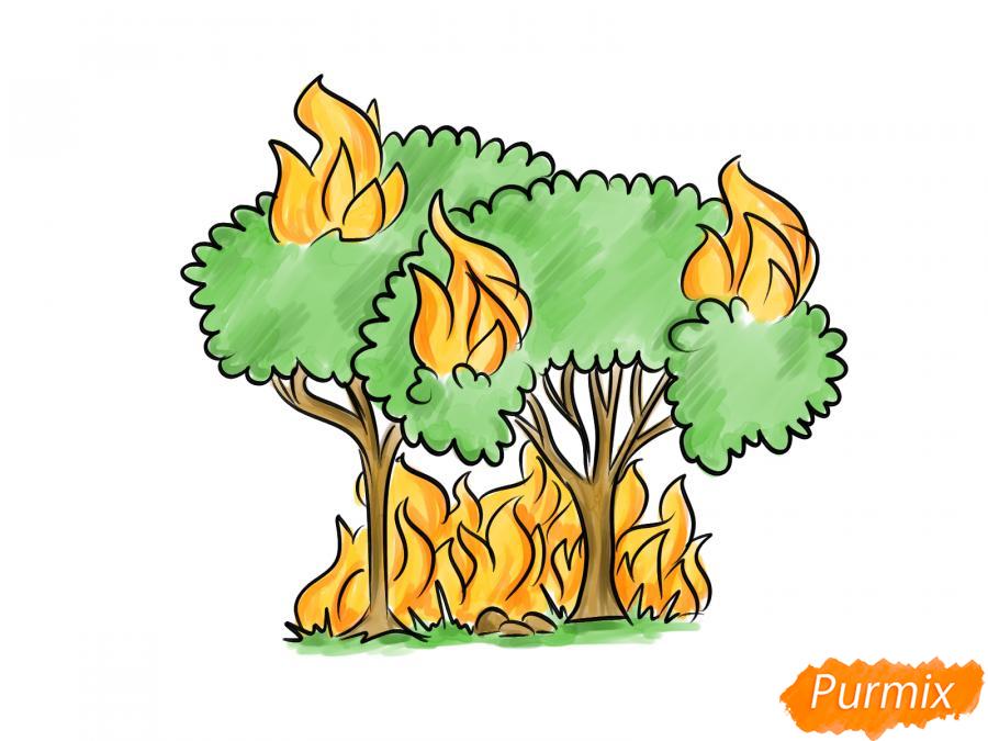Рисуем несколько горящих деревьев - шаг 8