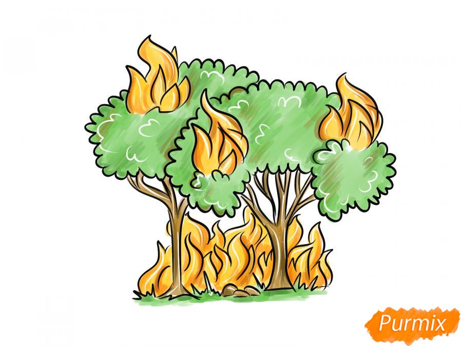 Рисуем несколько горящих деревьев - шаг 9