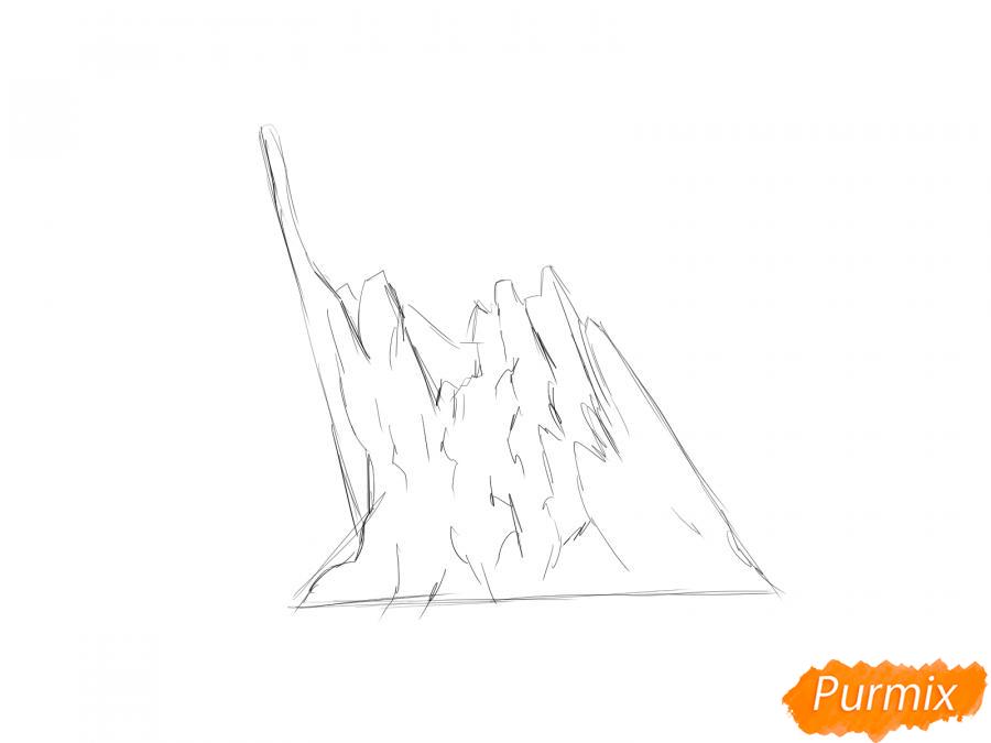 Рисуем обломанный пенёк - шаг 2