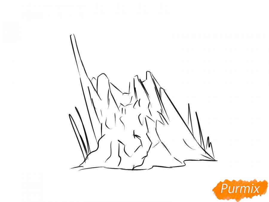 Рисуем обломанный пенёк - шаг 3
